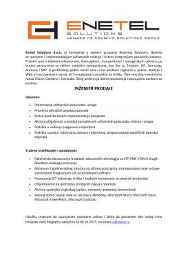 inženjer prodaje - Enetel Solutions