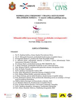 Lista učesnika