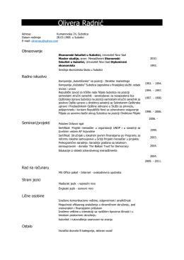 CV Olivera Radnić