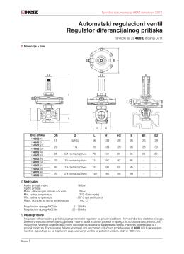 Automatski regulacioni ventil Regulator diferencijalnog pritiska