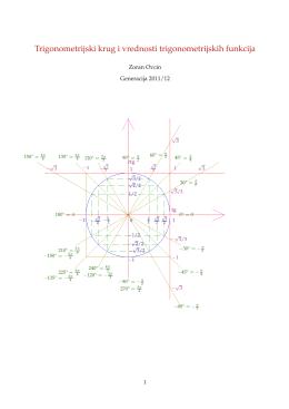 Trigonometrijski krug i vrednosti trigonometrijskih funkcija
