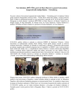 Novi direktor, BPŠ-VŠSS, prof. dr Ðuro Ðurović u poseti Univerzitetu