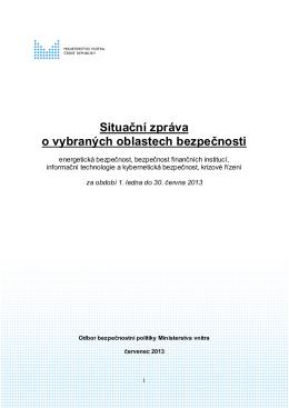 Situační zpráva o vybraných oblastech bezpečnosti