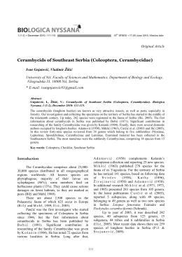 ! Cerambycids of Southeast Serbia (Coleoptera