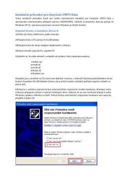 Instalační průvodce pro EasyGate UMTS Data