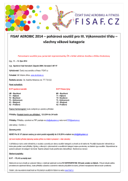FISAF AEROBIC 2014 – pohárová soutěž pro III