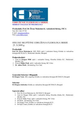Odluke Skupstine 2009 - Udruženje flebologa Srbije