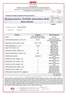Sirćetna kiselina, CH3COOH, prehrambena, 99.8%