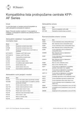 Kompatibilna lista protivpožarne centrale KFP