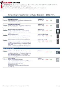 Cenovnik opreme za kontrolu pristupa - Geovision