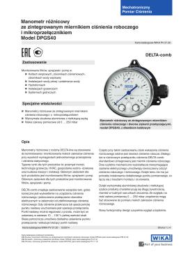 Różnicowy przełącznik ciśnienia Model DPS40