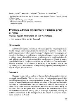 Promocja zdrowia psychicznego w miejscu pracy w Polsce