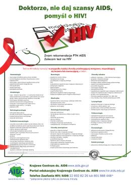 Doktorze, nie daj szansy AIDS, pomyśl o HIV!