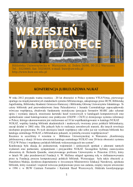Wrzesień w Bibliotece (2012) - Biblioteka Uniwersytecka w Warszawie