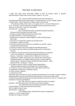 ROTOKÓŁ Nr XXXVI/2014 - Solec Zdrój, Urząd Gminy