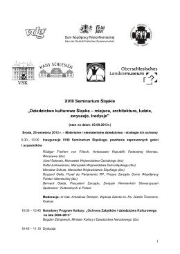 XVIII Seminarium Śląskie - Towarzystwo Społeczno