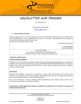 Newsletter KNP PRAGMA – marzec - Koło Nauk Psychologicznych