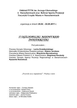 57 Ogólnopolski Majowy Rajd Świętokrzyski (regulamin imprezy)