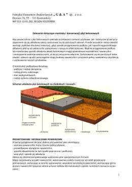 6) Zalecenia dotyczące montażu i konserwacji płyt betonowych i