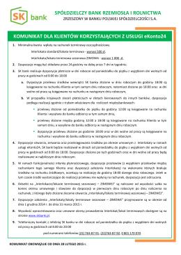 Komunikat dla Użytkowników eKonto24 obowiązujący od 28 lutego