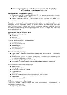 Plan nadzoru - Szkoła podstawowa nr 2 w Częstochowie