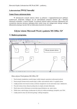 Edytor tekstu Microsoft Word z pakietu MS Office XP