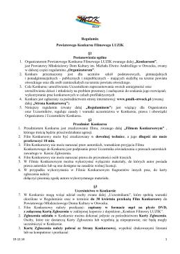 Regulamin Powiatowego Konkursu Filmowego