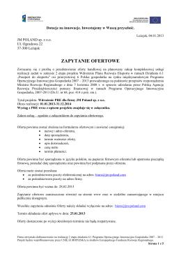 ZAPYTANIE OFERTOWE - JM Poland Bazy danych Telemarketing