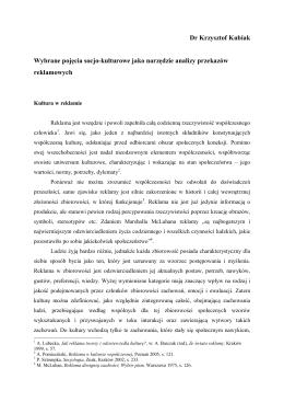 Dr Krzysztof Kubiak Wybrane pojęcia socjo