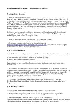 """Regulamin Konkursu """"Zabierz Lazienkaplus.pl na wakacje!"""" § I"""