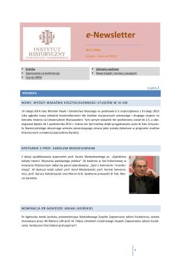 e-Newsletter - Instytut Historyczny Uniwersytetu Warszawskiego