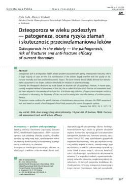 Osteoporoza w wieku podeszłym — patogeneza