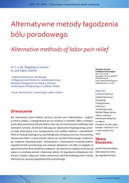 Alternatywne metody łagodzenia bólu porodowego