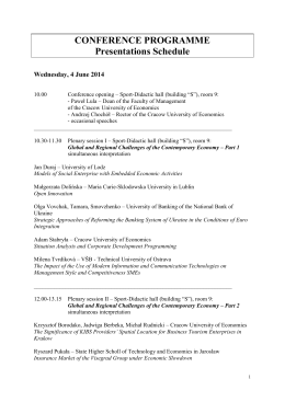 CONFERENCE PROGRAMME - 7th International Scientific
