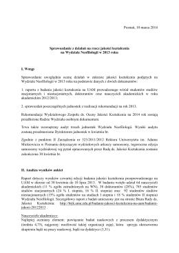 Sprawozdanie z działań na rzecz jakości kształcenia na Wydziale