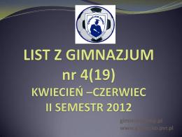 LIST Z GIMNAZJUM KWIECIEŃ –CZERWIEC II SEMESTR 2012