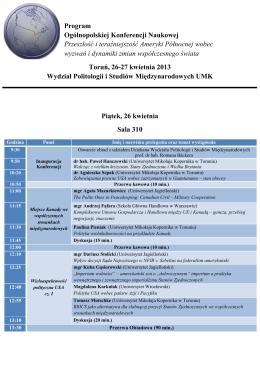 Programie Konferencji - Uniwersytet Mikołaja Kopernika