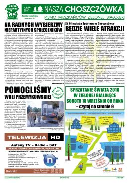 POMOGLIŚMY - Stowarzyszenie Nasza CHOSZCZÓWKA Pismo