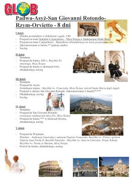 Rzym–Wenecja–Loretto–Asyż-Padwa - 7 dni