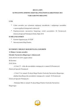 Regulamin Narciarstwo Biegowe - XI Światowe Zimowe Igrzyska