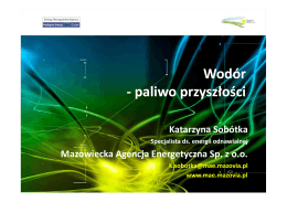 Wodór – paliwo przyszłości - Mazowiecka Agencja Energetyczna