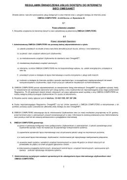 Regulamin OmegaNET - Internet Brenna ..:: www.omega.info.pl