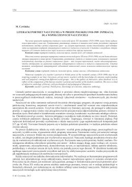 134 M. Cywińska LITERACKI PORTRET NAUCZYCIELA W PROZIE