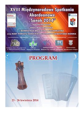 PROGRAM XVIII MSA Sanok 2014 - Państwowa Szkoła Muzyczna I i