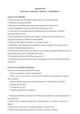 """Załącznik NR 1 Zakres prac w standardzie """"pod klucz"""" – BUDOMEK"""