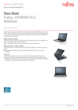 Data Sheet Fujitsu LIFEBOOK A532 Notebook