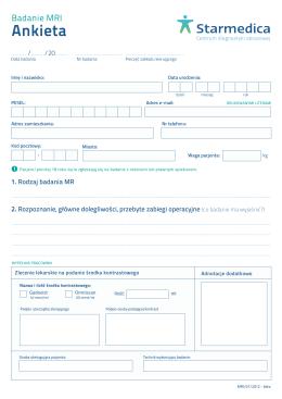 Ankieta przed wykonaniem badania MRI format: PDF