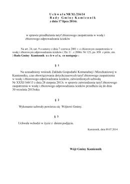 U chwa ł a NR XL/216/14 R ady G miny K amiennikz dnia 17 lipca