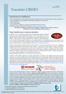 Newsletter CBIMO - Centrum Bioimmobilizacji i Innowacyjnych