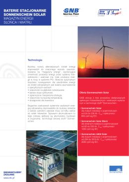 Baterie stacjonarne sonnenschein solar Magazyn energii słońca i